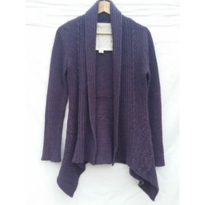 Anthropologie Purple Ribbed Open Cardigan Small